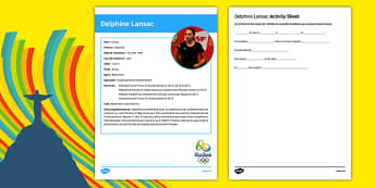 French Olympic Athletes Delphine Lansac Gap Fill Activity Sheet, worksheet
