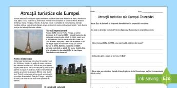 Atracțiile turistice ale Europei Fișă de lectură - europa, ziua europei, atractii turistice, română, fișe de lectură, competente de lectură, citir