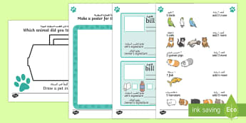 Vet's Role Play Area Activity Sheets Arabic/English - Vet's Role Play Area Worksheets - vets, role play, worksheet, veternarian, rol eplay, activity shee