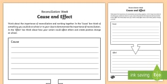 National Reconciliation Week Cause and Effect Activity Sheet - Australia English National Reconciliation Week 27 May - 3 June, Year 3, Year 4, Year 5, Year 6, Abor