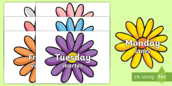 Days of the Week on Flowers Topic Words on Topic Images English/Spanish - Days of the Week on Flowers - days, week, display, visual aid, flashcards, days of the wek, days pf