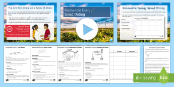 Renewable energy Speed Dating - Speed Dating, renewable energy, solar power, wind turbines, biomass, tidal power, starter activity
