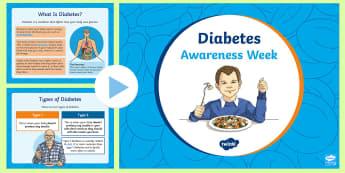 Diabetes Awareness Week PowerPoint - diabetic, diabetes Awareness Week, insulin, pancreas, glucose,