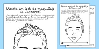 Ficha de actividad: ¡Diseña un look de maquillaje de Carnaval!  - Carnaval, maquillaje, pintura de cara, Carnival, make-up, makeup, face paints, face painting