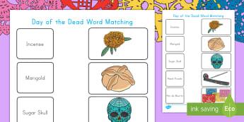 Day of the Dead Word Matching Activity Sheet - day of the dead, dia de los muertos, incense, marigold, sugar skull, altar, Pan de muerto, day of th