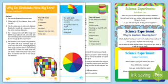 EYFS Science Experiments Resource Pack - Elmer, David McKee, colour, wilbur, patchwork, rainbow, elephant, jungle, elephant, colour, color,