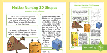 EYFS Maths: Naming 3D Shapes Home Learning Challenges - Early years, eyfs planning, Beginning to use mathematical names for 'solid' 3D shapes, and mathe