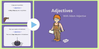 Adjectives PowerPoint - Powerpoint, adjectives, fun, animation, English, grammar