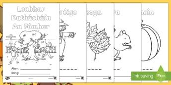 Autumn Colouring Pages Gaeilge - fómhar, séasúr, season, dathúcháin, aimsir, weather, Irish, mindfulness