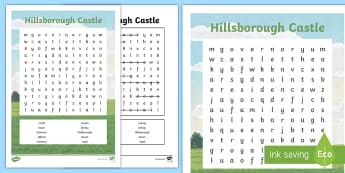 Hillsborough Castle Word Search - NI - Hillsborough Castle, Royal family, County Down, Queen, history