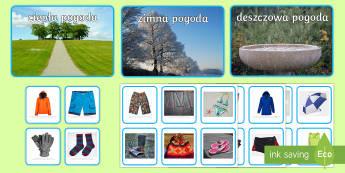 Plansze z kartami Pogoda i odzież ze zdjęciami - pogoda, ubrania, odzież, ubiór, deszcz, zimno, ciepło, prognoza, ubierać, ubrać, przegrzewania,