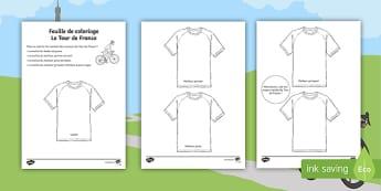 Feuille de coloriage avec mots: Les maillots du Tour de France  - Tour de France, coloriage, colouring , maillots, jerseys, KS1, cycle 1, cycle 2, ,French