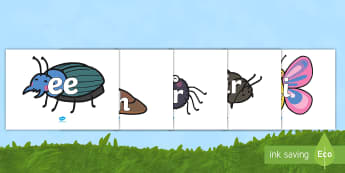 Phase 3 Phonemes on Minibeasts Phoneme Cards - Phase 3 Phonemes on Butterflies - Phonemes, phoneme, Phase 3, Phase three, Foundation, Literacy, Let