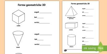 Le proprietà delle forme geometriche 3D Attività - 3D, forme, geometriche, geometria, tridimensionale, lati, esercizio, lati, vertici, italiano, italia