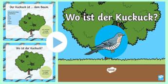 Spring Location Prepositions  PowerPoint - German - Spring, Prepositions, Location, German, Frühling