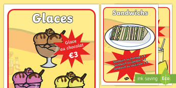 Cafe Role Play Food   Display Posters - French - Cafe, Role Play, Food, Display, Posters, French