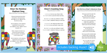 Songs and Rhymes Resource Pack - Elmer, David McKee, colour, patchwork, elephant, wilbur, song, singing, songtime