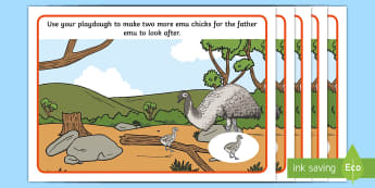 Emu Life Cycle Playdough Mats - lifecycle, life stages, animal growth, ACSSU030, animal reproduction, growth, Australian bird,Austra