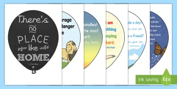 Reading Corner Quotes Balloons Display Pack - reading quotes, book corner, reading corner, book area, reading area, display, balloons