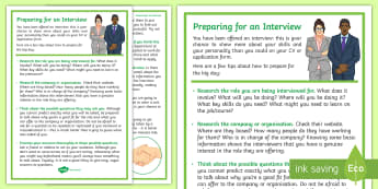 Preparing for an Interview Guide - young people, interviews, college, jobs, PSHCE, life skills