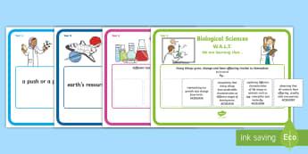Year 2 Australian Curriculum Science Understandings WALT Display Posters