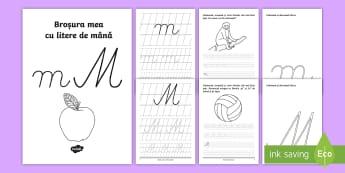 """Scrierea literelor """"m"""" și """"M"""" de mână Broșură cu activități  - alfabetul, scriere, litere, de mână, grafisme,Romanian"""