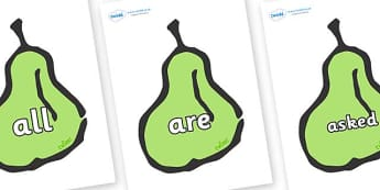 Tricky Words on Pears - Tricky words, DfES Letters and Sounds, Letters and sounds, display, words