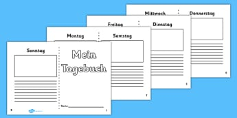 Mein Tagebuch Writing Frame German - german, 7 day diary, writing frame, diary, journal, week, planner, my diary, writing frame, 7 day, seven day, booklet, page border, writing template