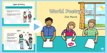 CfE Second Level World Poetry Day PowerPoint-Scottish - CfE World Poetry Day 21st MarchSecond LevelPoetryLiteracySonnetHaikuLyricAcrostic,Scottish