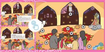 KS1 Diwali Picture Hotspots - Divali, Festival, Hindu, Interactive, Information, diva lamp, diya, lakshmi, Rama, Sita
