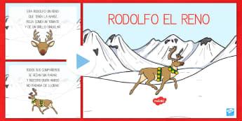 Presentación: Rodolfo el reno - Rodolfo el reno, Rodolfo, reno, Rudolf, villancico, canción, presentación, powerpoint,Spanish, can - Rodolfo el reno, Rodolfo, reno, Rudolf, villancico, canción, presentación, powerpoint,Spanish, can