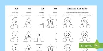 Karty Własności liczb do 20 Dodawanie liczb - dodać, dodaj, działania, liczenie, matematyka, liczby,Polish