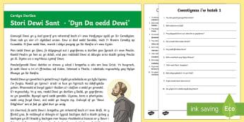 Dewi Sant Darllen a Deall Gwahaniaethol - Dewi Sant, darllen a deall, gwahaniaethol, Addysg Grefyddol, CA2,Welsh.