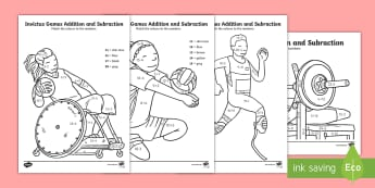 Invictus Games Addition and Subtraction Activity Sheet - KS1, KS2 - Invictus Games - 23rd Sept 2017, worksheet