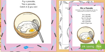 Mix a Pancake Rhyme - Shrove Tuesday, mix a pancake, rhyme, song, sing