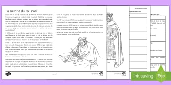 The Routine of Louis XIV Differentiated Reading Comprehension Activity French - KS3, French, inference, routine, history ,French