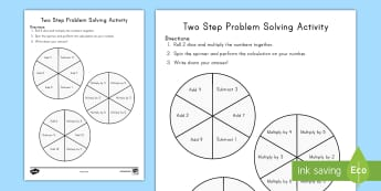 Two Step Problem Solving Spinner and Dice Activity - problem solving, two step problems, multi-step problems, operations and algebraic thinking, third gr