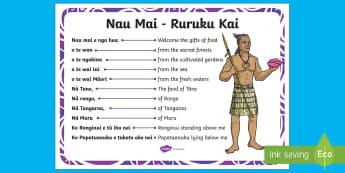 Rurukai Kai A4 Display Poster English/Te Reo Māori - New Zealand Back to School, ruruku, incantation, karakia, morning starter, meals, karakia