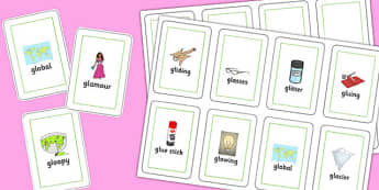 Two Syllable GL Playing Cards - sen, sound, gl sound, gl,  two syllable, playing cards