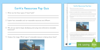 Earth's Resources Pop Quiz - Earth Science, Renewable Energy, Fossil Fuels, coal, oil, natural gas, hydroelectric, solar, nonrene