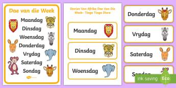 Stories Vanaf Afrika - Dae Van Die Week - dae van die week, wilde diere, Afrika, Suid-Afrika, plakkaat