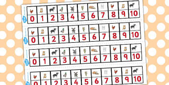 The Little Red Hen Number Track 1-10 - Little, Red, Hen, Numbers