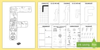 Consolidarea literei F Broșură - alfabetul, alfabetar, litere, sunete, grafisme,Romanian
