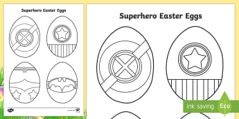 Superhero Easter Eggs Colouring Page - easter egg, superhero, colouring sheet, fine motor skills,