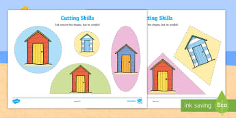 Beach Hut Size Ordering Cut-Outs - Seaside, Maths, Holiday, cutting, scissors, fine, motor, skills