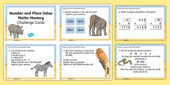 Year 4 Maths Mastery Number and Place Value Challenge Cards - year 4, maths, mastery, number, place value, challenge cards, activity, number day