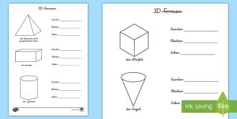 Eigenschaften von 3D-Formen Arbeitsblätter - Mathe, Geometrie, Figuren, Körper, Ecken, Kanten, Flächen, Oberfläche,,German