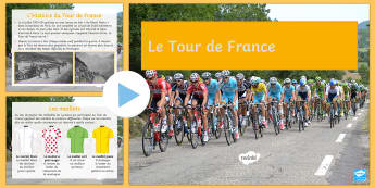Tour de France PowerPoint French - French, KS3, reading, comprehension, Countries, information, ,French
