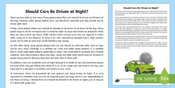 Should Cars Be Driven at Night? Discussion Writing Sample - Literacy, Should Cars Be Driven at Night? Discussion  Writing Sample , year 1, year 2, discussions,