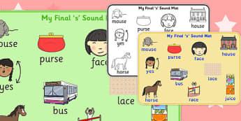 Final 'S' Sound Word Mat - final s, sound, word mat, word, mat